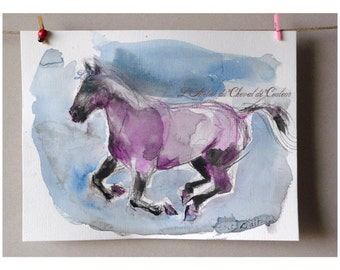 original watercolor Purple Blue Horse horse sketch art