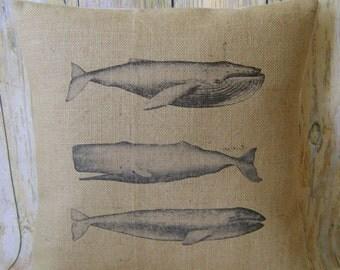 "Whale Trio - 16"" Hessian Jute burlap cushion/pillow cover nautical/coastal shabby chic country UK handmade"