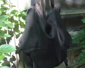 FINAL SALE: Charlotte~ Large Distressed Black Leather Slouch~ One of a Kind~ Raw~ Natural Edge~ Salvaged Deerskin~ Spirit Bag