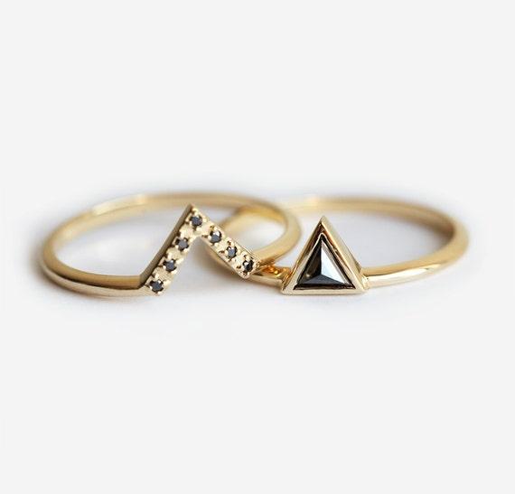 Black Diamond Ring Black Diamond Wedding Ring Set Trillion