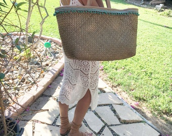 Leather Straw Bag. Fringed Straw Tote. Straw Beach Bag. Large