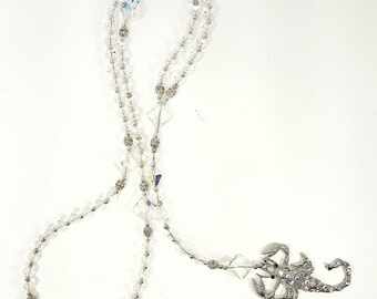 Extra Long Clear AB Crystal & Silver Accent Bead Rosary Style Y Necklace with a Large Silver and Crystal Scorpion Pendant | Scorpio Jewelry