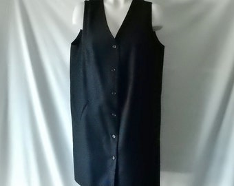Sz 14 Harve Benard Wool Jumper Dress - Black - Knee Length - Button Front - Wear to Work Office