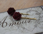 Burgundy Hair Grip PairBurgundy Flower Hair GripFlower Hair AccessoriesBurgundyBridesmaid AccessoriesCute GripsResin Rose FloralBell