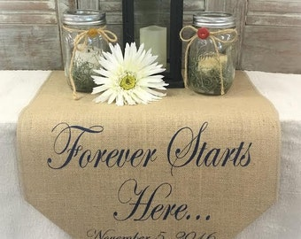 Burlap Table Runner with Forever Starts Here with date & fall leaves on 1 end- sweetheart table runner - Wedding runner Fall wedding decor