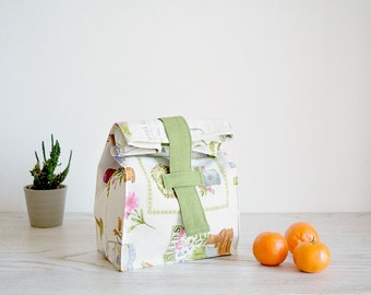 Reusable lunch bag with flowers and plants printed, reusable lunch bag for women, snack bag, cotton lunch bag, country chic, shabby