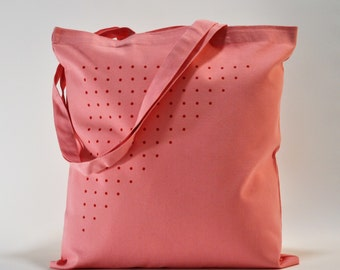 o/ Pink Tote Bag. Cotton Canvas.