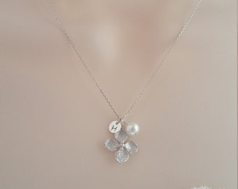 Silver Initial Necklace, Wedding Jewelry, Bridesmaid Jewelry, Personalized Initial Disc
