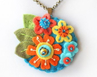 Orange and Blue Flower Necklace, Festival Fashion, Statement Pendant, Hand Embroidery Chain Necklace, Felt Medallion, Princess Flower Disc