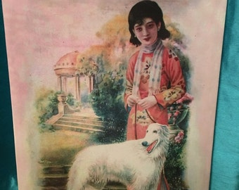 Asian Watercolor on canvas , woman with white dog.