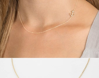 Side Anchor Necklace Gold, Silver or Rose Gold, 14k Gold Fill or Rose Gold Fill, Sterling Silver Delicate Chain / by Layered and Long LN322