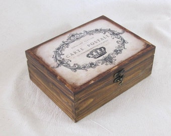 French style wooden tea box, wooden tea organizer , tea bags storage , gift for mom ,  wood jewelry box,  decoupage box