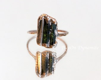 Tourmaline Pink Silver Dainty Ring size 6.5/One of a Kind, Ready to Ship Tourmaline Delicate Ring/ Green Tourmaline Ring in Rose Silver