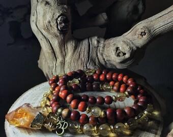 CITRINE Mala Beads   108 Mala Necklace   Japa Mala   Unisex Wood Gemstone Mala, Yoga Meditation Prayer Beads Rosary, Mayan Rose