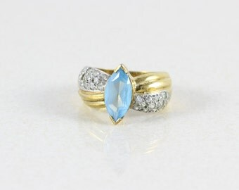 Gold over Sterling Silver Blue Topaz Band Ring size 6