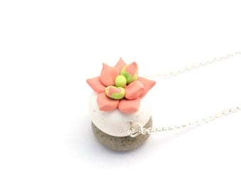 Succulent in Peach Sherbet: handcrafted polymer clay jewelry (made to order)