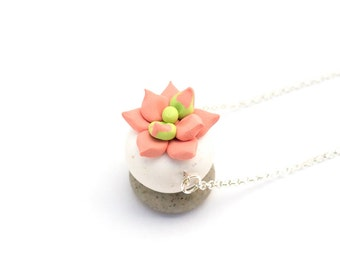 Handmade Cactus Polymer Clay Jewelry Necklace: Succulent in Peach Sherbet