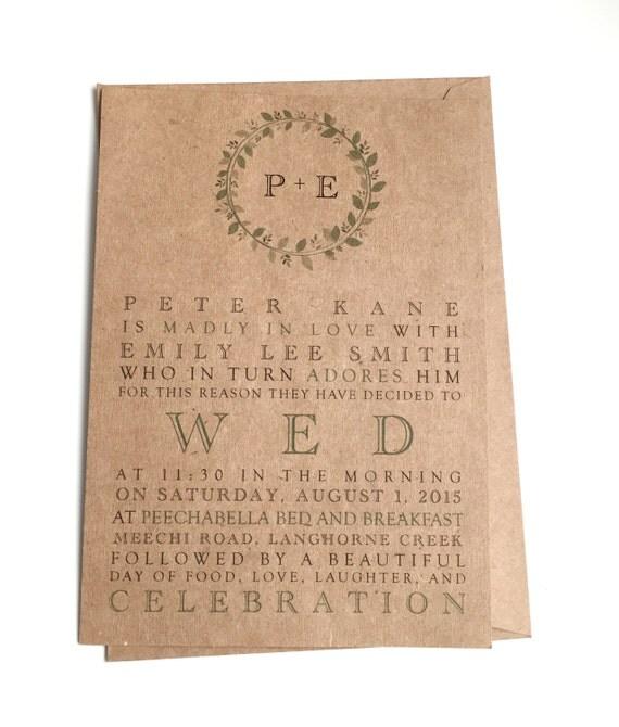 Wedding Invitations Rustic Wreath Leaves Kraft