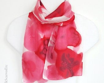 Red white silk scarf, Hand painted silk, Floral scarf, Red Pink flowers scarf, Artist painted silk, Abstract flowers scarf, Mother's gift