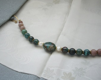 Chrysocola gemstone bracelet, Haori himo bracelet, Kimono jewelry, Green beaded jewelry, Japanese gift idea, kimono lover, Kimono kitsuke