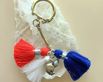 Keychain with Your Team Colors - Tassel Keychain and Football or Other Symbol Charms - School or Team Colors