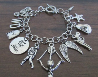 The Walking Dead Inspired Charm Bracelet, Zombie Jewelry