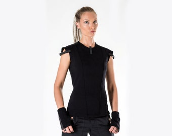 SALE! 15% OFF Black military vest industrial shirt avant garde - GT woman Q5