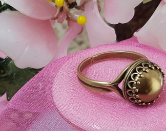 Bronze Pearl Ring, Swarovski Pearl, Pearl Birthstone, Gift for Bridesmaids, June Bday, Pearl Bronze Anniversary, Adjustable Ring, R5000