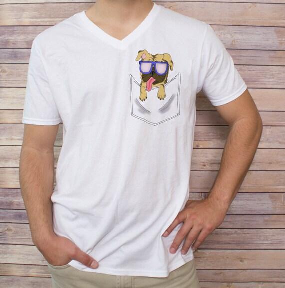 Men 39 s pug lovers pocket t shirt v neck tank top by for Men s v neck pocket tee shirts