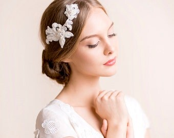 Lace Headpiece - Bridal Hair Accessory - Wedding Headpiece with Rhinestone - Floral Hairpiece - Bridal Lace Hairpiece