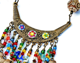 Colorful Boho Beaded Bib Necklace Painted Flowers Bohemian Indian Jewelry FREE SHIPPING