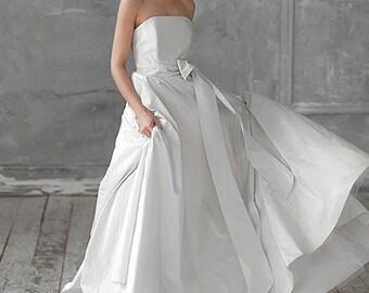 Gaia-taffeta wedding dress quinceanera wedding dress open shoulders wedding dress size plus wedding dress Lightweight wedding gown Bohemian