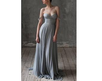 Grey Wedding dresses silk wedding dress Beach bridal dress bridesmaid dress Bohemian dress Boho clothing chiffon wedding dress |  Eeribiya