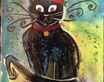 Crazy Cat Original Artwork Painting 9x12 Canvas Board