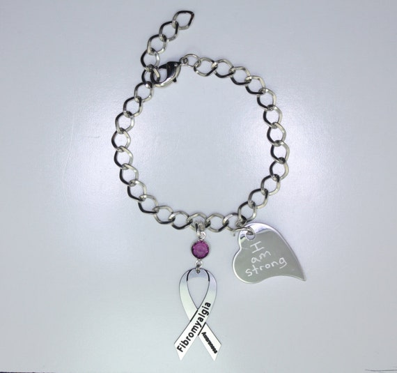 fibro bracelet personalized fibromyalgia awareness ribbon bracelet 6459