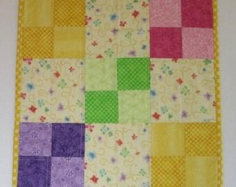 "SALE: Doll Quilt, 17.5"" x 17.5"", Mini Quilt, Table Topper, Yellow,  Butterflies, Four-patch Quilt"