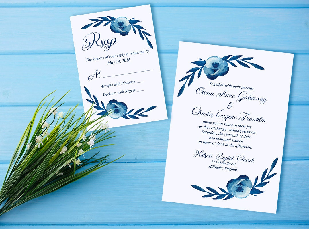 Watercolor Wedding Invitation RSVP Card Floral