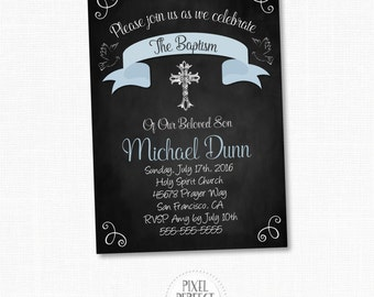 Baptism Invitations, Boy Baptism Invitation, Chalkboard Invitation, Chalkboard Baptism Invitation, Printable Baptism Invitation, Religious