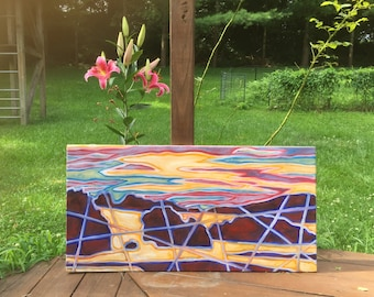 36 in x 18 in Original Oil Abstract Landscape: Land and Sea