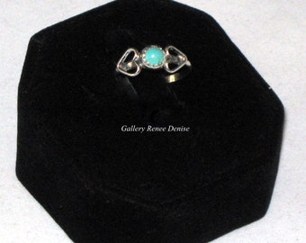 Turquoise Ring Navajo Style Native American Vintage Southwestern Ring Size- 8.5 and 6.5 Sterling Silver Ring SWR110