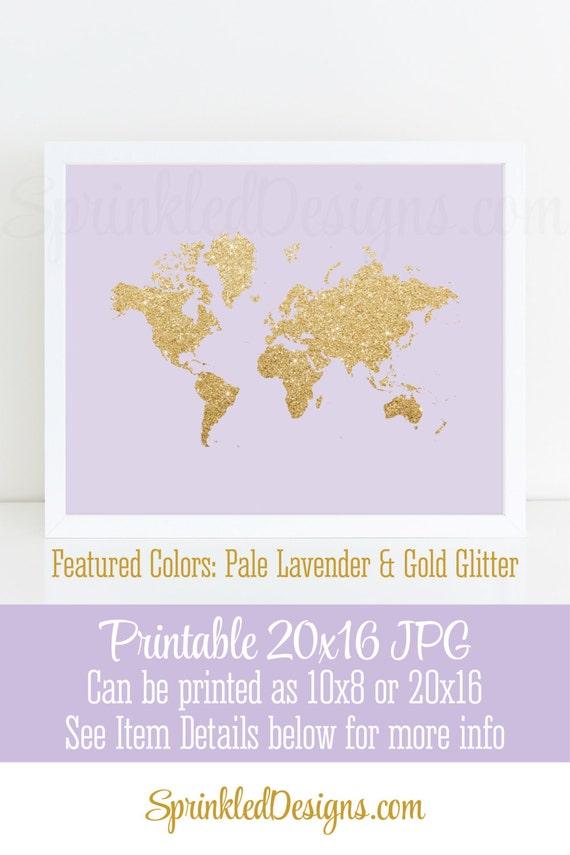 Gold glitter world map wall art print lavender purple gold baby il570xn gumiabroncs Choice Image
