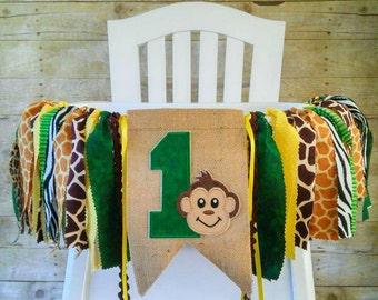 Monkey Safari Jungle 1st Birthday High Chair Banner