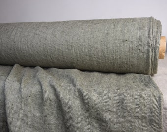 Pure 100% linen fabric 240gsm. Herringbone pattern, not dyed flax & dark olive. Medium-heavy weight, washed-softened. For all season clothes