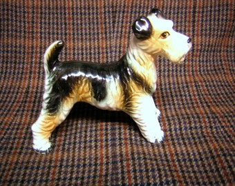 Vintage Made in Japan Hand Painted Porcelain Fox Terrier