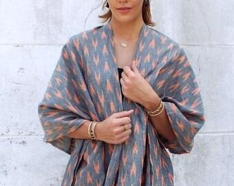 Peach Arrow Handwoven Poncho or Kimono with Belt
