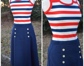 Vintage ribbed striped tank top red, white, blue
