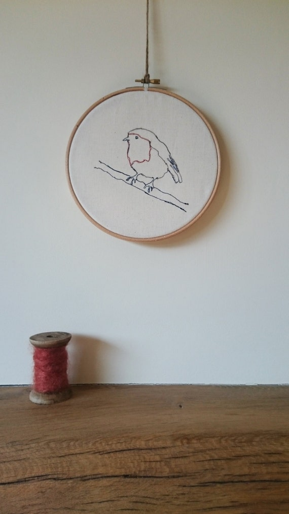 Handmade robin embroidery hoop by katychamberstextiles on etsy