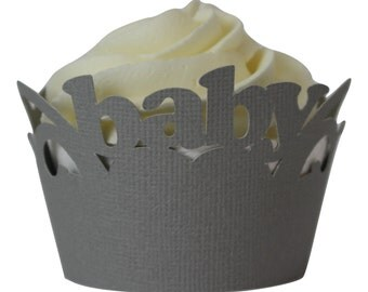 Gray Baby Cupcake Wrappers, Set of 12, Baby Shower, Gray Texture, Cupcake Decor, Handcrafted Party Decor, Party Supplies