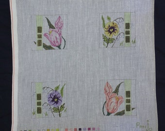 Pan Jo canvas flowers 18 count Needlepoint Canvas  FREE Shipping USA
