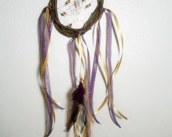 Horned God Symbol Dreamcatcher Copper Weave Elm Wood Quartz Crystal Colorful Purple and Gold Bohemian Pagan Wicca Wall Hanging